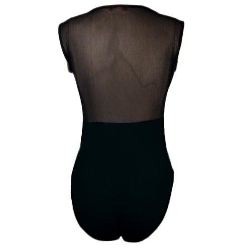 Womens Nero Mezza Mesh Body senza maniche Body Black