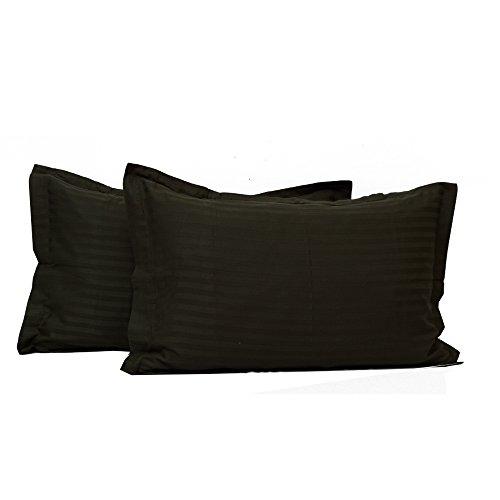 BudgetLinen 2PCs Single Color Pillowcase Pair (Negro raya , Oxford Standard 50 X 75 CM Oxford) 100 % de algodón egipcio Calidad premium 300 número de