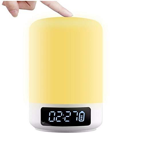 LRWEY Wireless Bluetooth Lautspreche, Wecker Bluetooth Lautsprecher Touch Bunte LED Wachen Nachtlicht Nachttischlampe Outdoor, MP3-Player