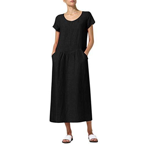 Overdose Damen Freizeit Kleider Leinenkleider 1/2 Ärmel Rundhals Einfarbig Casual Urlaub Sommerkleider Strandkleid Midi Dress Frauen kostüme übergröße (EU 48/CN 4XL, X-y-schwarz) -