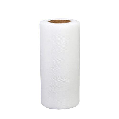 1 Rouleau de Tulle Décoration pour Tutu Banquet Mariage Artisanat DIY 22m x 15cm - Blanc