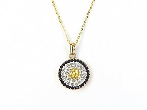 Halskette Allah Islam Muslim – Gold Farbe Strass Münze Rund