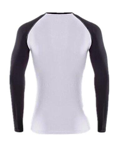 AILIENT Femme T-Shirt de Sport Slim Col Rond Space-Dry Top Blouse Basique Casual Respirant T-Shirt Manche Longue Patchwork Pour Yoga Fitness Joggings white