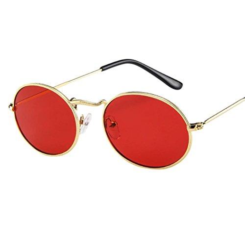 Dragon868 Herren Damen Vintage Retro ovale Sonnenbrille Ellipse Metallrahmen Brille Trendy Shades (B)