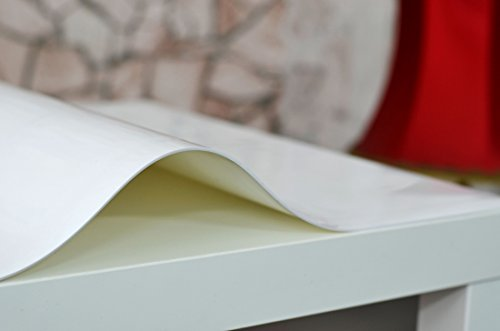Aix Home GmbH PVC Tischfolie Schutzfolie Tischdecke Tischschutz Glasklar Hochglanz Weiß Breite: 90 cm, Tischfolie:160cm