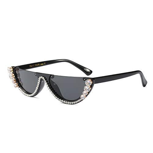 CADANIA Sonnenbrillen Damen Trendy Half Frame Cat Eye Sonnenbrillen Strass Shades