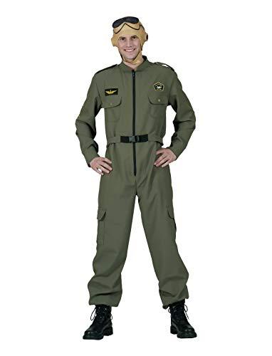 TrendClub100® Top Gun Pilot Kostüm Tom Jumpsuit Overall für Erwachsene Herren (56-58)