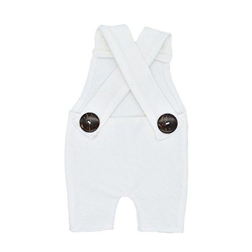 Qiuxiaoaa Neugeborene Fotografie Prop Button Overalls Hosen Baby Fotoshooting Strampler Outfit geknöpft Lätzchen fotografische Kleidung weiß