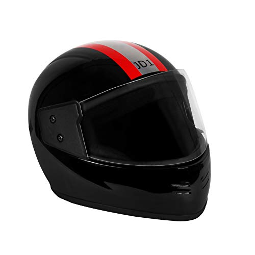 JMD HELMETS JD1 Polycarbonate Plastic Decor Stripe Helmet (Silver-Red)