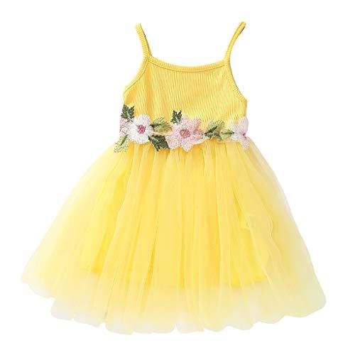 Alwayswin Ärmelloses Sling-Kleid für Kinder Babykleidung Prinzessin Kleid Blumennaht Mesh Flauschigen Rock Kleid Süß Mode Party Abendkleid Kleid Sommerkleid Outdoor Strandkleid