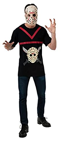 Jason Voorhees T-Shirt mit Maske aus Freitag der 13, Größe:XL
