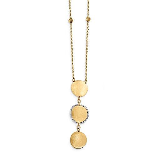 13mm 14ct TT Satin und Poliert diamantiert Perlen und Kreis Baumeln mit 1In Ext. Halskette–43Cent
