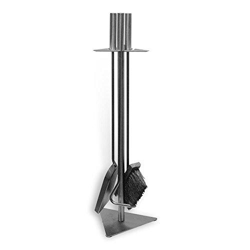 """HC-Handel 924055 Kaminbesteck """"Trio"""" aus Stahl 3-teilig 60 cm silber"""
