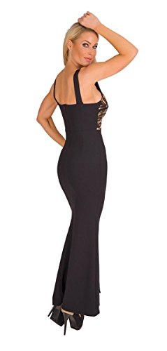 4928 Fashion4Young Langes Damen Kleid Maxikleid Abendkleid Party Pailletten Kleid Bodycon (schwarz-gold, 34-36) - 3
