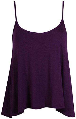 Purple Hanger - T-Shirt Haut Caraco Femme Bretelle Fine Encolure Arrondie Sans Manche Uni Neuf Violet