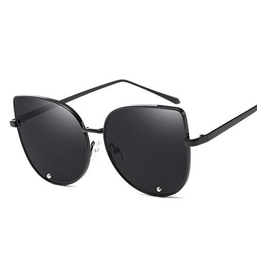 Easy Go Shopping Frauen-Weinlese-Art-runde Rahmen-Metallbein-UV400 Objektiv-Katzenauge-Sonnenbrille für Sonnenbrillen und Flacher Spiegel (Color : Schwarz, Size : Kostenlos)