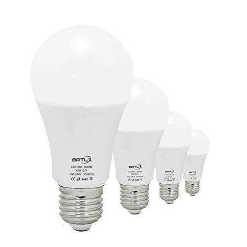 Bombilla LED Esférica Casquillo E27, 12 W, Equivalencia (W) 100 W, Luz Blanca 6000K, 960 Lúmenes, no Regulable, Pack de 4 Unidades [Clase Energética A+]