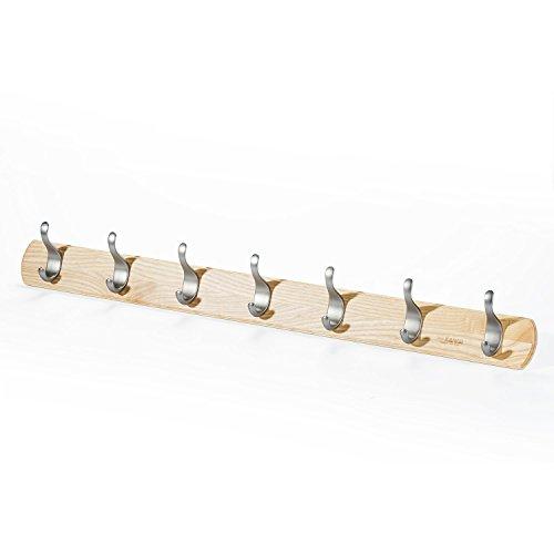 Love-kankei appendiabiti a parete con ganci per cappelli e cappotti, 8 ganci in legno