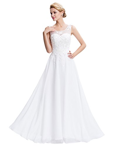90cf3f645f GRACE KARIN Ball Gowns for Women Ladies Evening Dresses Bridesmaid Dresses  White Size 16 CL7555-
