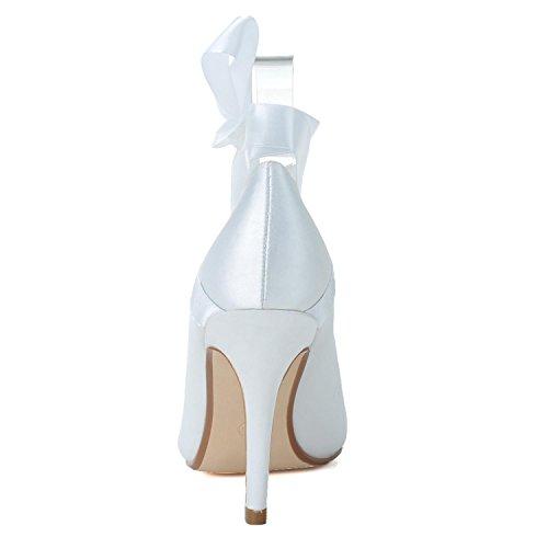 L@YC Tacco alto Da Donna Tacco a Spillo TU-5623-05 abito Da Cerimonia Nuziale In Seta Con Balza White