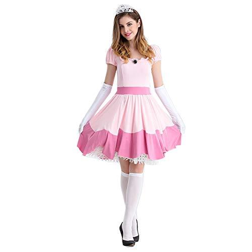 y Bier Mädchen Kostüm COS Magd geladen Deutsches Bier Kleidung (einschließlich Krone + Rock + Handschuhe),Pink,L ()