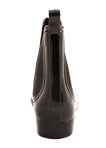 new product ac9e2 a891c Elara Damen Gummistiefel Bequeme Lack Stiefeletten Chelsea ...