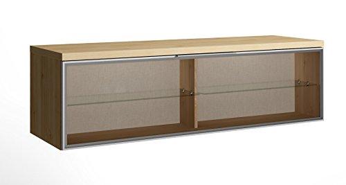 Meuble TV-élément bas Chêne avec 1 porte de verre, 399 x 1373 x 420 mm -PEGANE-