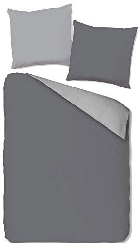 KH-Haushaltshandel 2-tlg. Wende Bettwäsche, Übergröße: 155 x 220 +80x80cm, grau silber, uni einfarbig, Reißverschluß, Microfaser (155 cm x 220 cm)
