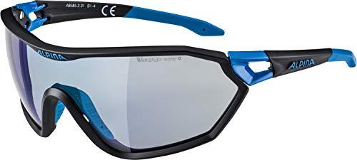 ALPINA Erwachsene S-Way VLM+ Sportbrille, Black matt-Cyan, One Size