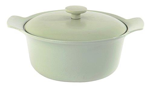 Pan Pot Crock (Berghoff Ron Gusseisen emailliert Runde Kasserolle mit Deckel, grün)