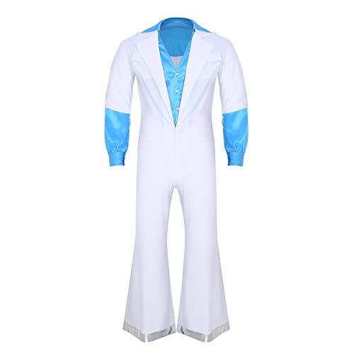 FEESHOW Herren Retro Vintage 70er Jahre Disco Kostüm Overall Männer Jumpsuit Romper mit Lange Ärmel und Schlaghose Halloween Cosplay Tanz Clubwear Weiß (Retro Tanz Kostüme Für Männer)
