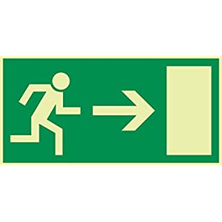 Emergency Exit/Emergency Exit sign Orig. Andris® Arrow Right DIN-4981Plastic Board Long-Lastingly 300x150mm
