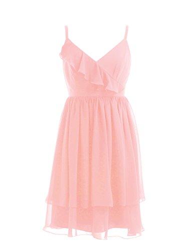 Dresstells, bretelles spaghetti robe courte de demoiselle d'honneur/cocktail, robe courte d'été en mousseline Rose