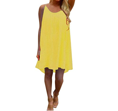 URSING_Damen Ärmellos Trägerkleid Rückenfrei A-Linie Festliches Kleid Einfarbig Stretch Bodycon Party Kleid Minikleid Strandkleider Sommerkleid Beachwear Partykleid Cocktailkleid (S, Gelb) (Stretch-spitze Licht)