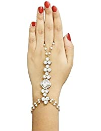 MEENAZ Adjustable American Diamond Gold Plated Chain Bracelet Rings For Women