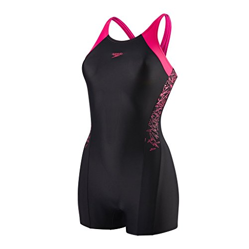 Speedo Mädchen Boom Splice Legsuit Swimwear, Black/Electric Pink, ()