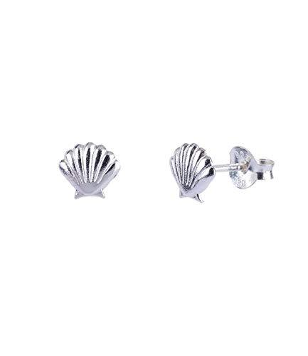 SIX Damen Ohrringe aus 925er Silber, Ohrstecker im maritimen Look, Stecker in Muschelform in silberfarben (773-978)