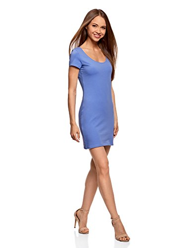 oodji Ultra Damen Enges Jersey-Kleid, Blau, DE 34 / EU 36 / XS (Damen-kurz Baumwoll-jersey)