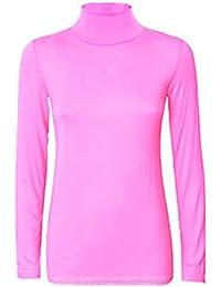 Uptown Girl - Jersey de cuello alto para mujer, diseño liso, manga larga, elástico, tallas 8–26