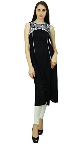 Phagun Feste Kunstseide Designer Kurta Frauen Ethnischen Top Tunika-Kleid Anarkali Kurti Schwarz und Off White
