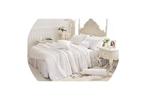 Tencel Silk Cotton Sommer-Bett-Blatt Set Lace Voll Königin King Size Mädchen Bettwäsche Set 4 / 7Pcs Bettbezug Bett Rock-Satz Pillowcase, Farbe 2, King Size 7Pcs