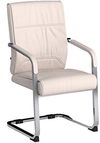 CLP XXL-Freischwinger Anubis mit Kunstlederbezug und gepolsterter Sitzfläche I Pflegeleichter Konferenzstuhl mit Armlehne Creme