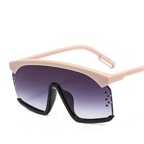 YJKHKL New Übergroße Quadratische Sonnenbrille Frauen Markendesigner Punk Big Frame Brille Männer Coole Brille Bunte Brillen Reise GafasC5Beige Schwarz Grau