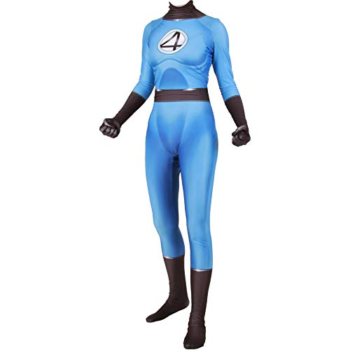 Halloween Invisible Mann Kostüm - QWEASZER Marvel Fantastic Four Invisible Woman Kostüm Zentai Onesie Kleidung Outfit Halloween Lycra Cosplay Bodysuit Movie Kostüme Onesies,Fantastic Four-160~165cm
