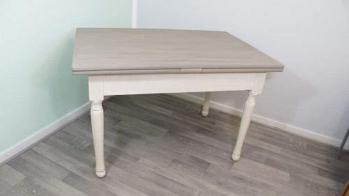 Wohnliebhaber Esstisch Tisch ausziehbar grau weiß antikweiß Shabby Landhaus Kreidefarbe DIY