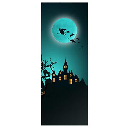 YA-Uzeun Halloween Kreative lustige Tür-Aufkleber für Glas Fenster Party Holz Tür Wand Aufkleber Lustige Fenster-Aufkleber Glas-Aufkleber Halloween Kreative Tür (3002D #Hexenschloss) (Kleinkind Avengers Kostüm)