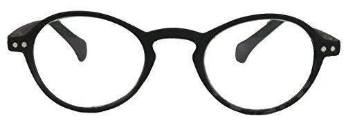 Klassische filigrane Retro Lesebrille Damen Herren Hornbrille im Vintage Stil OVR (49 matt schwarz 2.0 dpt)
