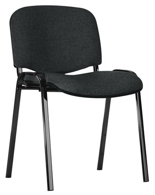 Preisvergleich Produktbild Stapelstuhl, Ovalrohrgestell schwarz, Sitz-/Rücken polster anthrazit, Rückenabdeckung Kunststoff schw