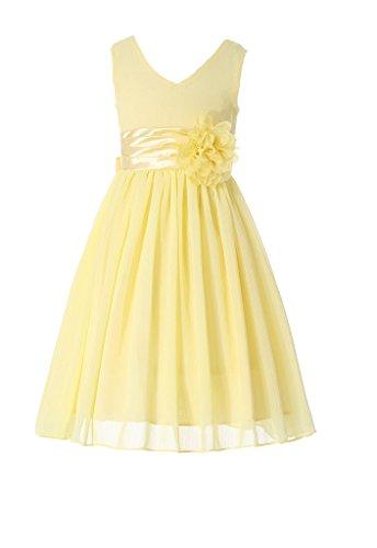 HAPPY ROSE Juniorbrautjungfernkleid Abschlussball-Partykleid Chiffon Gelb 14_Jahre (Mädchen In Gelben Kleid)