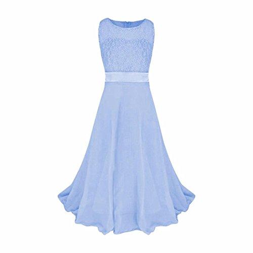 Prinzessin Kleid , Kobay Kinder Mädchen Kleider Spitze Hochzeit Brautjungfer Festzug Kleid (170, Himmelblau)